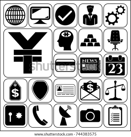 Set of 22 business high quality symbols. Collection. Amazing desing. Vector Illustration.