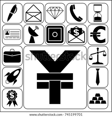 Set of 17 business high quality symbols. Collection. Flat design. Vector Illustration.
