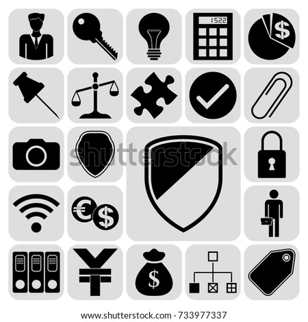 Set 22 Business High Quality Symbols Stock Vector 733977337