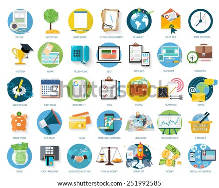 Set of business icons for investing, office, support in flat design isolated on white background - stock vector
