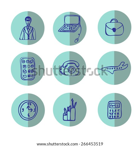 Set of business icons - hand-drawn vector illustration - stock vector