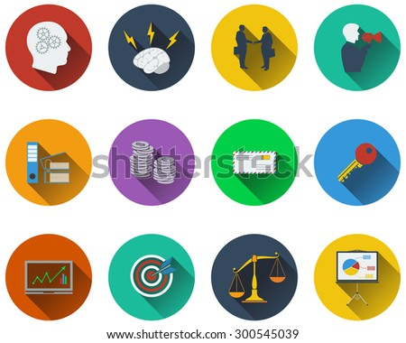 Set of business icons in flat design.  - stock vector
