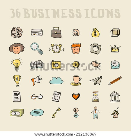 Set of business icons made in fun doodle way. Hand drawn vector business symbols, including characters, idea, search, brain, time, creative, pen, bird, social signs, money and home page. - stock vector