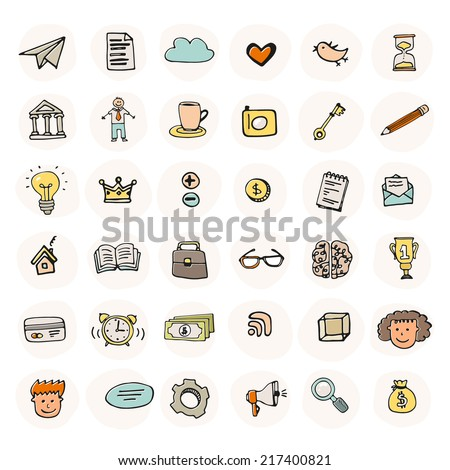 Set of business icons made in fun doodle way. Hand drawn vector business symbols, including characters, idea, search, brain, time, creative, pen, bird, social signs, money and home page.