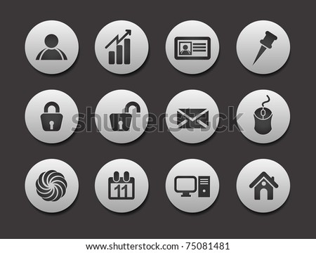 Set of Business Icons on circle button collection Original Illustration. - stock vector
