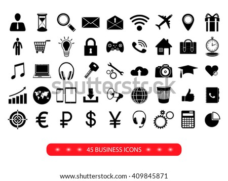 Set of  business icons on white background. Vector illustration.