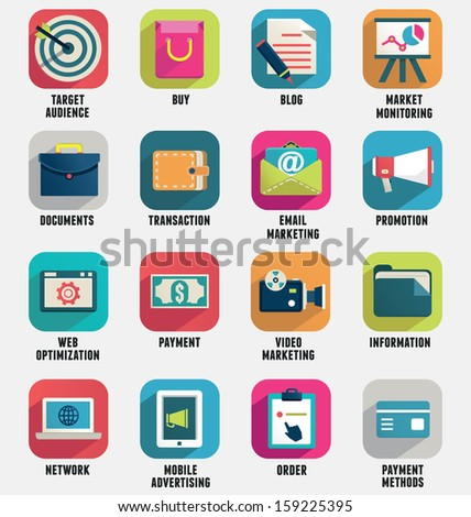 Set of business internet service and ecommerce icons. Flat style - part 1 - vector icons - stock vector