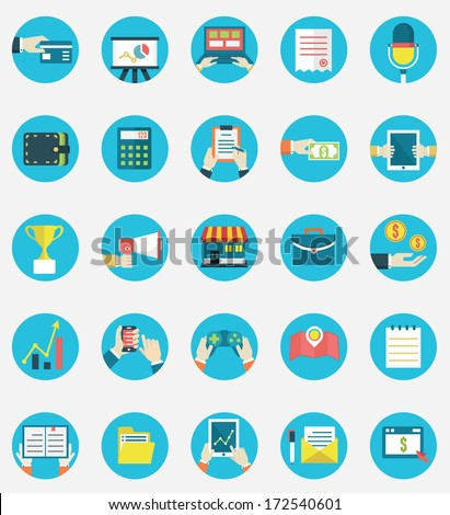 Set of business internet service and ecommerce icons. Symbols on management or analytics. Flat style - vector icons - stock vector