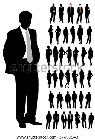 Set of business man and woman shapes
