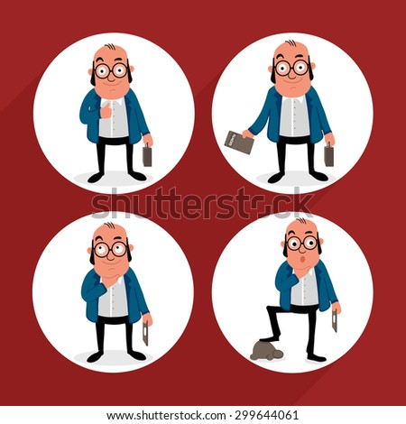 Set of business man characters in different poses. - stock vector