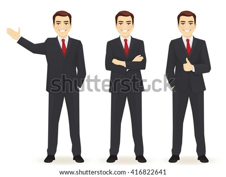 Set of business man in different poses isolated. Thumbing up, showing and with hands crossed - stock vector
