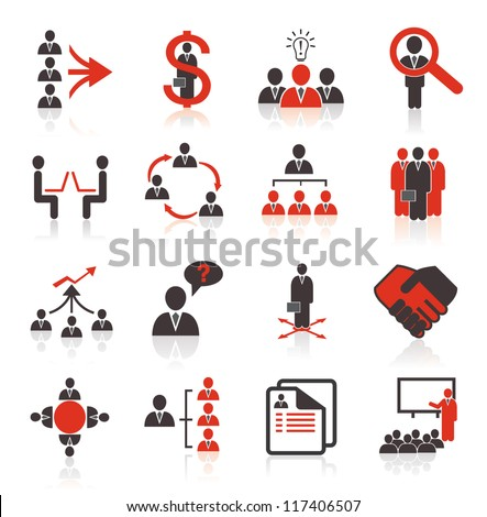 Set of 16 business, management and human resources icons.