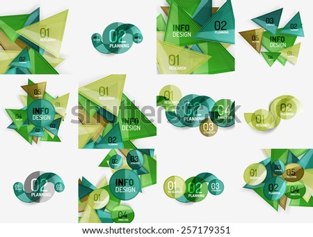 Set of business modern colorful geometric infographics, abstract compositions - stock vector