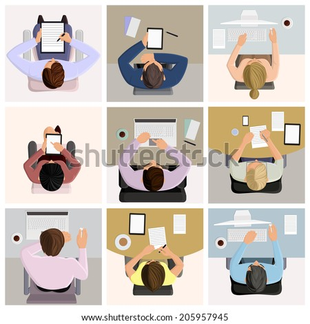 Set of business office worker people on job at the table with laptop computer coffee icons vector illustration - stock vector