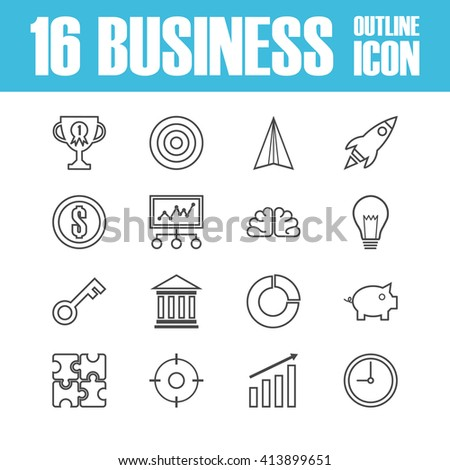 set of business outline ico, isolated on white background - stock vector