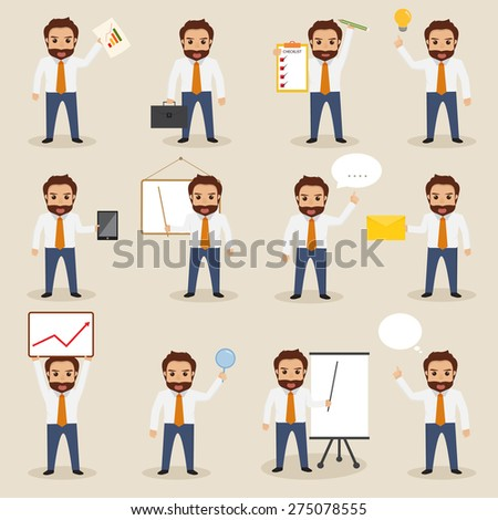 set of business people character with hipster style - stock vector