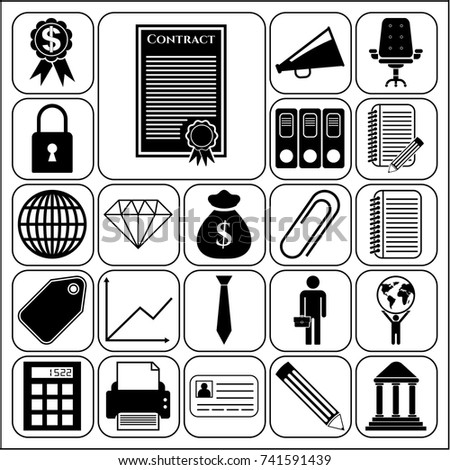 Set 22 business icons symbols collection stock vector 736466296 set of 22 business related icons collection flat design vector illustration yadclub Image collections