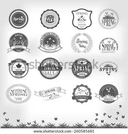 Set of  business sign graphics and text logo designs vintage retro style - stock vector