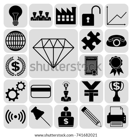 Set 22 Business Symbols Icons Collection Stock Vector 741682021