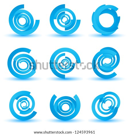 set of business & technology concept icons, logo set - stock vector