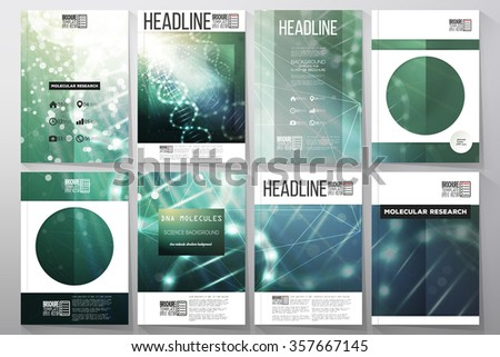Set of business templates for brochure, flyer or booklet. DNA molecule structure on dark green background. Science vector background. - stock vector