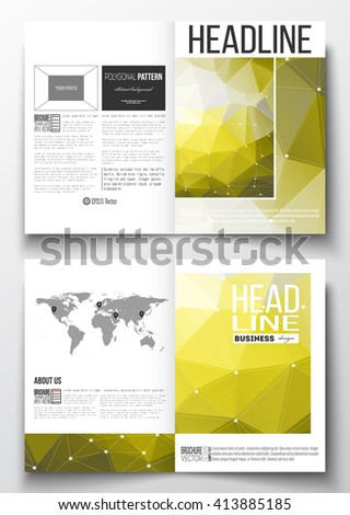 Set of business templates for brochure, magazine, flyer, booklet or annual report. Molecular construction with connected lines and dots, scientific pattern on yellow polygonal background