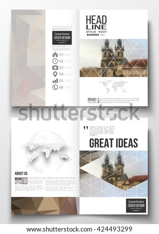 Set of business templates for brochure, magazine, flyer, booklet or annual report. Polygonal background, blurred image, urban landscape, cityscape of Prague, modern triangular texture - stock vector