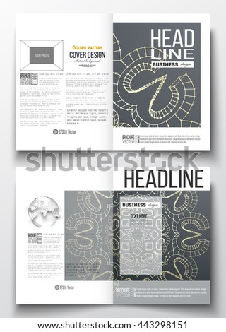 Set of business templates for brochure, magazine, flyer, booklet or annual report. Polygonal backdrop with golden connecting dots and lines, connection structure. Digital scientific background. - stock vector