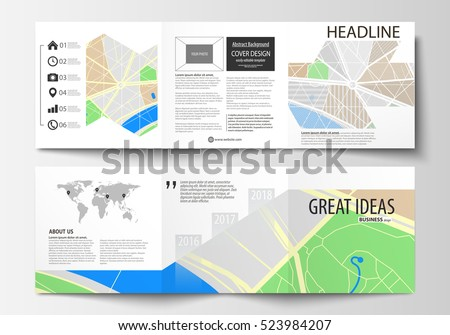easy brochure template - set business templates square tri fold stock vector