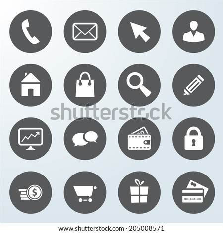 set of business web shop vector icons. isolated from background.