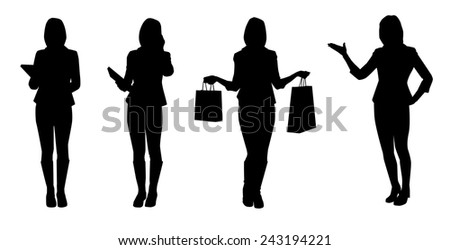 Set of business women. Vector silhouettes - stock vector