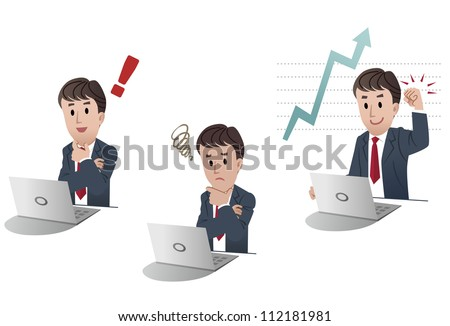 Set of businessman at a laptop computer, exclamation point, sales increase achievement, upset on white background, isolated, cartoon - stock vector