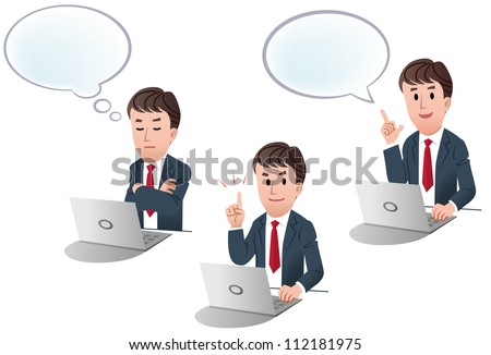 Set of businessman at a laptop computer, with speech balloon, with thinking balloon on white background, isolated, cartoon - stock vector