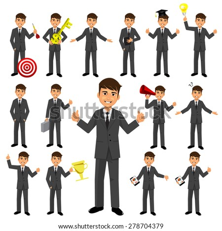 Set of businessman character - stock vector