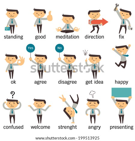 Set of businessman character or office person in various poses, expressing feeling and emotional concept, isolated on white. - stock vector