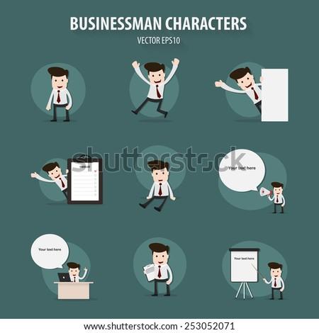 Set of businessman character,Vector EPS10. - stock vector