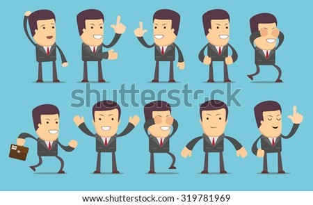Set of businessman characters poses , eps10 vector format. Flat style. Stock Vector illustration Set - stock vector