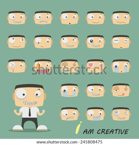 Set of businessman characters poses, expressing feeling and emotional concept, office worker. Elements for design. Vector illustration - stock vector