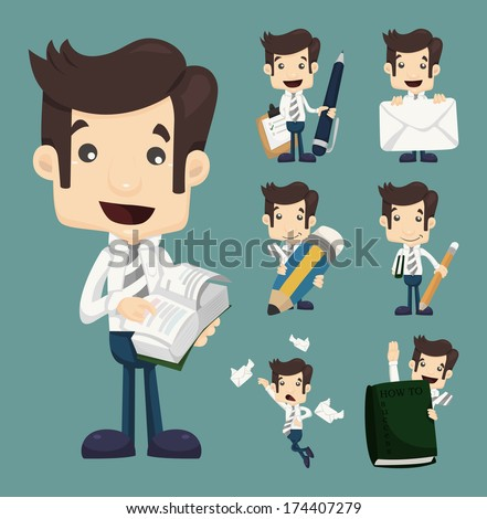 Set of businessman characters poses , office worker , eps10 vector format