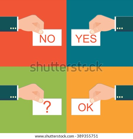 Set of Businessman hand showing his paper with Question mark, ok, yes and no text, vector illustration.  - stock vector