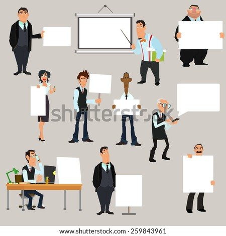 Set of businessman holding blank notes characters poses. vector illustration.  - stock vector
