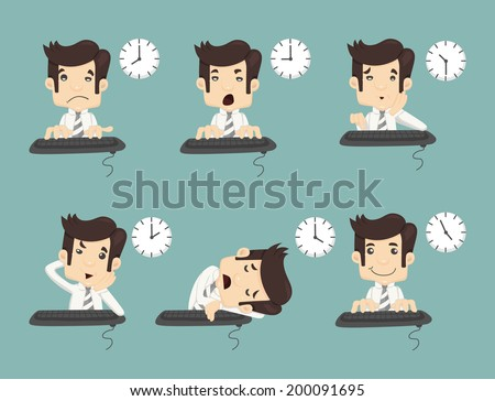 Set of businessman working time , eps10 vector format - stock vector