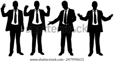 set of businessmen body expressions - stock vector