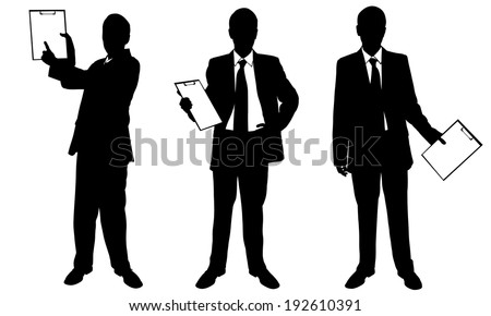 set of businessmen with clipboard isolated - stock vector