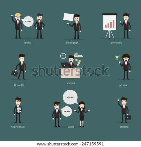 Set of businesspeople, man and woman various characters and activities,Vector EPS10. - stock vector