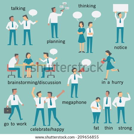 Set of businesspeople or office workers, man and woman, various characters and activities, in business concept set 2.   - stock vector