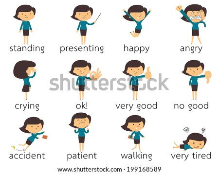 Set of  businesswoman in various poses and expressing feeling and emotion,  isolated on white - stock vector