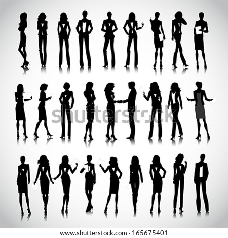 Set of businesswoman silhouettes on the background - stock vector