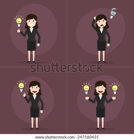 Set of businesswomen with bulb light idea,Vector EPS10. - stock vector