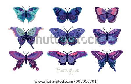 Set of butterflies decorative silhouettes. Vector illustration